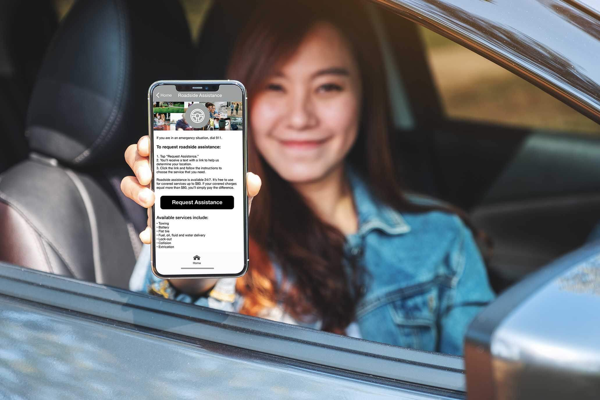 Call for roadside assistance from the app or phone