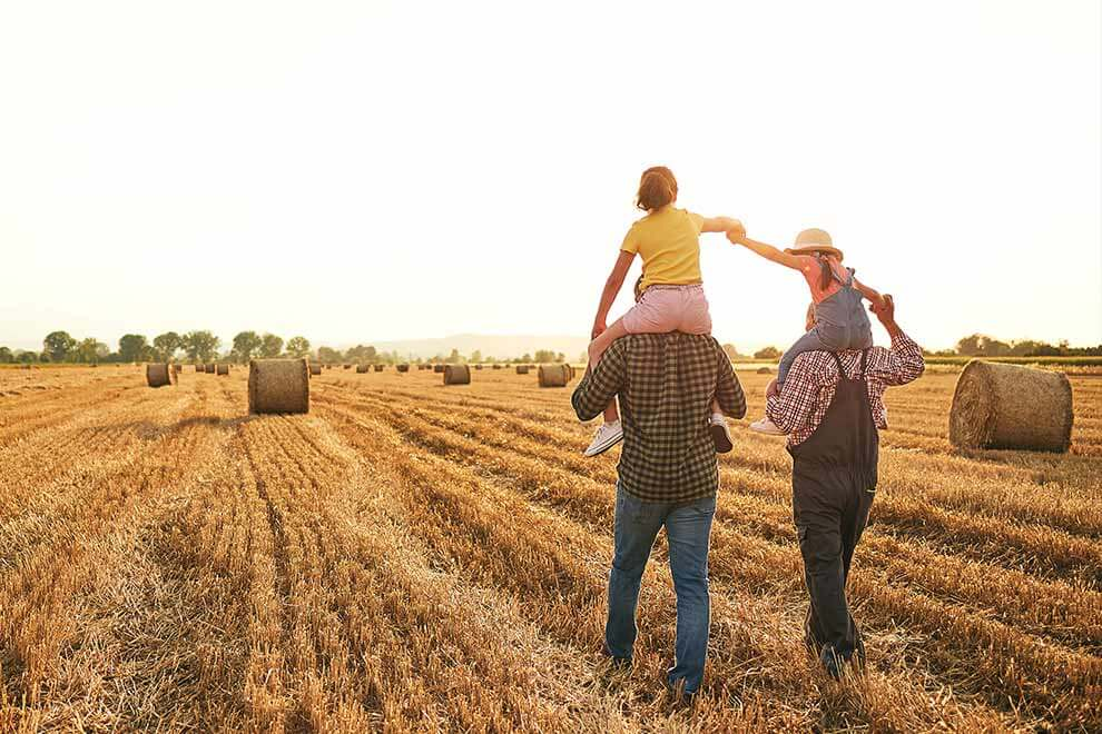 Two kids on the shoulders of two adults in a hay field