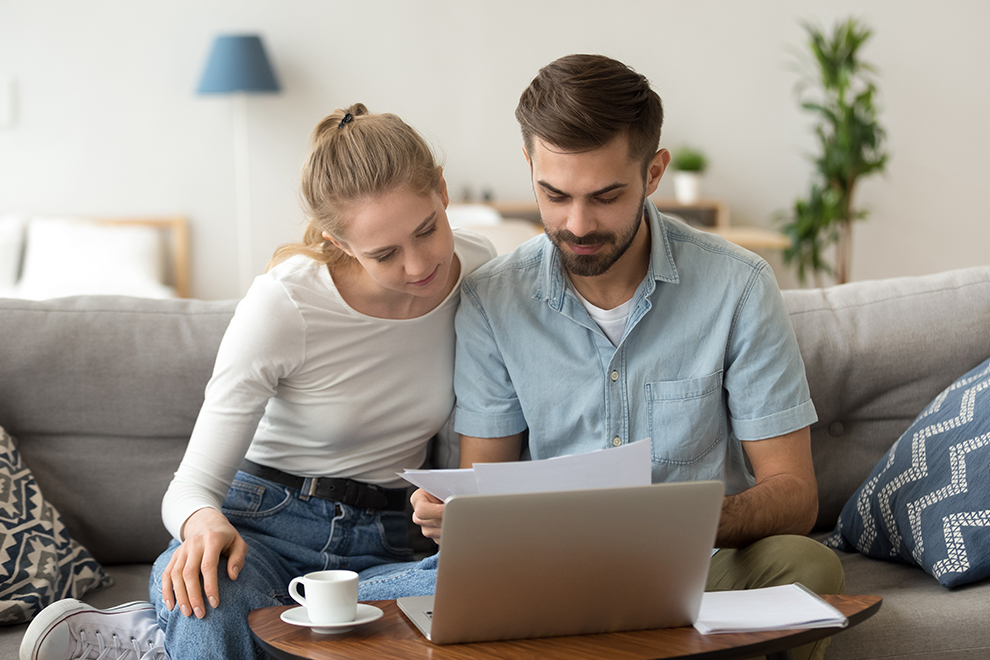 Couple Banking Online